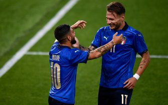 BOLOGNA, ITALY - June 04, 2021: Lorenzo Insigne (L) of Italy celebrates with Ciro Immobile of Italy after scoring a goal during the international friendly match between Italy and Czech Republic. Italy won 4-0 over Czech Republic. (Photo by Nicolò Campo/Sipa USA)