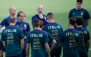 Italy's head coach Roberto Mancini during the training session on the eve of the soccer match Italy vs Lituania for FIFA World Cup Qatar 2022 qualifiers at Mapei Stadium in Reggio Emilia, Italy, 07 September 2021. ANSA / ELISABETTA BARACCHI