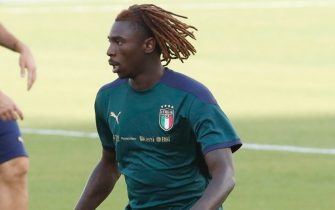 Italy's Moise Kean during the training session on the eve of the soccer match Italy vs Lituania for FIFA World Cup Qatar 2022 qualifiers at Mapei Stadium in Reggio Emilia, Italy, 07 September 2021. ANSA / ELISABETTA BARACCHI