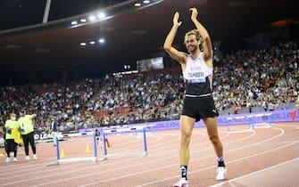 Gianmarco Tamberi of Italy celebrates after winning the men's High Jump during the Weltklasse IAAF Diamond League international athletics meeting at the Letzigrund stadium in Zurich, Switzerland, 09 September 2021.  ANSA/JEAN-CHRISTOPHE BOTT