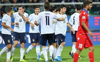 Esultanza degli azzurri in Italia-Armenia 9-1 del 2019