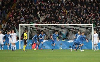 Esultanza degli azzurri in Italia-Finlandia 2-0 del 2019