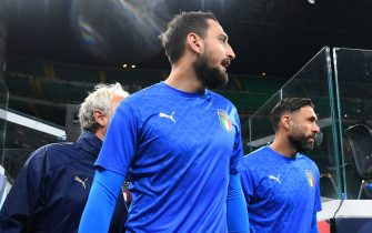 MILAN, ITALY - OCTOBER 06: Gianluigi Donnarumma of Italy arrives before the UEFA Nations League 2021 Semi-final match between Italy and Spain at Giuseppe Meazza Stadium on October 06, 2021 in Milan, Italy. (Photo by Claudio Villa/Getty Images)
