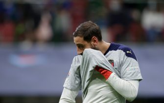 MILAN, ITALY - OCTOBER 6: Gianluigi Donnarumma of Italy disappointed   during the  UEFA Nations league match between Italy  v Spain  at the San Siro on October 6, 2021 in Milan Italy (Photo by David S. Bustamante/Soccrates/Getty Images)