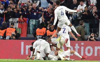 L'esultanza della Francia durante la partita contro il Belgio