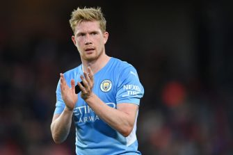LIVERPOOL, ENGLAND - OCTOBER 03: Kevin De Bruyne of Manchester City looks on during the Premier League match between Liverpool and Manchester City at Anfield on October 03, 2021 in Liverpool, England. (Photo by Michael Regan/Getty Images)