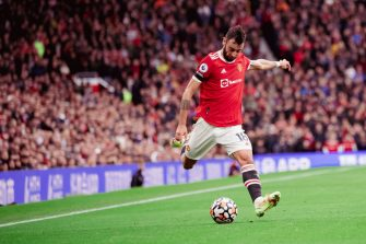 MANCHESTER, ENGLAND - OCTOBER 02: Bruno Fernandes of Manchester United in action during the Premier League match between Manchester United and Everton at Old Trafford on October 02, 2021 in Manchester, England. (Photo by Ash Donelon/Manchester United via Getty Images)