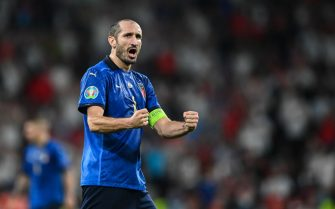 LONDON, ENGLAND - JULY 11: Giorgio Chiellini of Italy celebrates during the UEFA Euro 2020 Championship Final between Italy and England at Wembley Stadium on July 11, 2021 in London, England. (Photo by GES-Sportfoto/Getty Images)