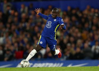 LONDON, ENGLAND - SEPTEMBER 22: N'Golo Kante of Chelsea in action during the Carabao Cup Third Round match between Chelsea and Aston Villa at Stamford Bridge on September 22, 2021 in London, England. (Photo by Chris Lee - Chelsea FC/Chelsea FC via Getty Images)