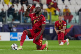 TURIN, ITALY - OCTOBER 07: Romelu Lukaku of Belgium reacts during the UEFA Nations League 2021 Semi-final match between Belgium and France at Juventus Stadium on October 07, 2021 in Turin, Italy. (Photo by Emmanuele Ciancaglini/CPS Images/Getty Images)
