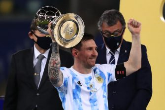 RIO DE JANEIRO, BRAZIL - JULY 10: Lionel Messi of Argentina lifts his top scorer award after winning the final of Copa America Brazil 2021 between Brazil and Argentina at Maracana Stadium on July 10, 2021 in Rio de Janeiro, Brazil. (Photo by Buda Mendes/Getty Images)