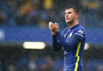 LONDON, ENGLAND - OCTOBER 02: Mason Mount of Chelsea FC applauds the fans after the Premier League match between Chelsea and Southampton at Stamford Bridge on October 02, 2021 in London, England. (Photo by Chloe Knott - Danehouse/Getty Images)