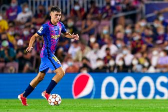 BARCELONA, SPAIN - SEPTEMBER 14: Pedro Gonzalez 'Pedri' of FC Barcelona with the ball during the UEFA Champions League group E match between FC Barcelona and Bayern München at Camp Nou on September 14, 2021 in Barcelona, Spain. (Photo by Pedro Salado/Quality Sport Images/Getty Images)