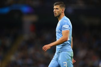 MANCHESTER, ENGLAND - SEPTEMBER 15: Ruben Dias of Manchester City  during the UEFA Champions League group A match between Manchester City and RB Leipzig at Etihad Stadium on September 15, 2021 in Manchester, United Kingdom. (Photo by Robbie Jay Barratt - AMA/Getty Images)