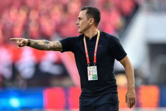Guangzhou Evergrande's head coach Fabio Cannavaro gestures during the Chinese Super League (CSL) football match between Guangzhou Evergrande and Shanghai Shenhua in Guangzhou in China's southern Guangdong province on December 1, 2019. (Photo by STR / AFP) / China OUT (Photo by STR/AFP via Getty Images)