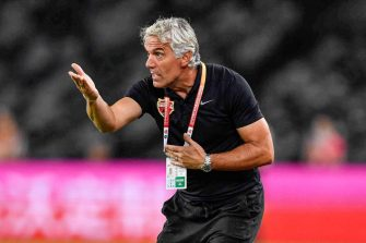 This photo taken on October 26, 2019 shows Shenzhen FC head coach Roberto Donadoni gesturing during the Chinese Super League (CSL) football match between Shenzhen FC and Wuhan Zall FC in Shenzhen in China's southern Guangdong province. - Roberto Donadoni would rather focus on his coaching job in China but instead the AC Milan legend's thoughts are consumed by the suffering coronavirus has brought to his hometown in northern Italy. (Photo by STR / AFP) / China OUT / TO GO WITH FBL-ASIA-CHN-DONADONI-ITA-HEALTH-VIRUS-ITALY BY PETER STEBBINGS (Photo by STR/AFP via Getty Images)
