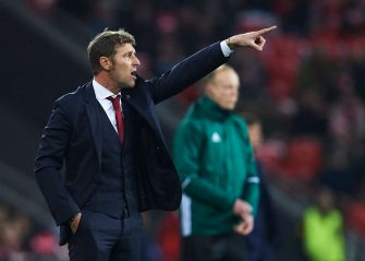 BILBAO, SPAIN - FEBRUARY 22:  Massimo Carrera of FC Spartak Moskva reacts during UEFA Europa League Round of 32 match between Athletic Bilbao and Spartak Moscow at the San Mames Stadium on February 22, 2018 in Bilbao, Spain.  (Photo by Juan Manuel Serrano Arce/Getty Images)