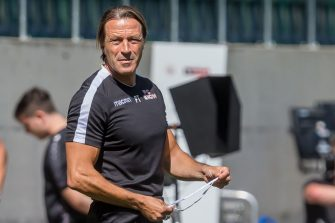 ST GALLEN, SWITZERLAND - JULY 05: (BILD ZEITUNG OUT) head coach Paolo Tramezzani of FC Sion Looks on during the Super League match between FC St.Gallen and FC Sion at Kybunpark on July 5, 2020 in St Gallen, Switzerland. (Photo by Harry Langer/DeFodi Images via Getty Images)