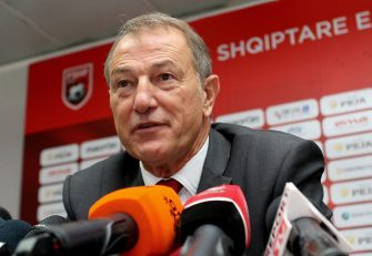 Albania's football team coach Giovanni De Biasi speaks during a press conference at the Albanian football federation headquarters in Tirana on October 1, 2016 to announce the names of the players selected for the upcoming FIFA World Cup 2018 qualifying football matches against Liechtenstein on October 6 and against Spain on October 9, 2016.  / AFP / GENT SHKULLAKU        (Photo credit should read GENT SHKULLAKU/AFP via Getty Images)