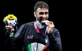 CHIBA, JAPAN - JULY 24: Silver medalist Luigi Samele of Italy poses on the podium during the menâ  s sabre individual medal ceremony of the fencing on day one of the Tokyo 2020 Olympic Games at Makuhari Messe Hall on July 24, 2021 in Chiba, Japan. (Photo by Elsa/Getty Images)