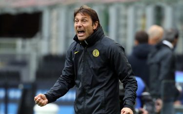 Inter MilanÃ??s coach Antonio Conte reacts during the Italian serie A soccer match between FC Inter  and Cagliari at Giuseppe Meazza stadium in Milan, 11 April 2021. ANSA / MATTEO BAZZI