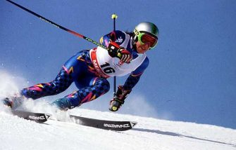 FEB 1992:  DEBORAH CAMPAGNONI (ITA)  ON HER WAY TO  VICTORY IN THE WOMEN SUPER G SLALOM AT THE 1992 WINTER OLYMPICS. Mandatory Credit: Steve Powell/ALLSPORT