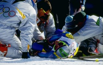 19 Feb 1992:  Deborah Compagnoni lays on the ground during the women''s giant slalom during the Olympic Games in Albertville, France. Mandatory Credit: Steve Powell  /Allsport