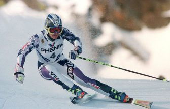 22 Feb 1996: Deborah Compagnoni of Italy in action during the first run of the Women''s Giant Slalom at the Alpine Skiing World Championships in Sierra Nevada, Spain. Compagnoni won the gold medal.