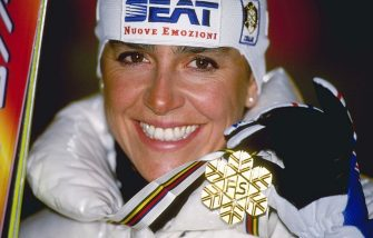 9 Feb 1997:  A portrait of Deborah Compagnoni of Italy with her gold medal after winning the slalom at the Alpine World Championships in Sestriere, Itlay.  \ Mandatory Credit: Clive Brunskill /Allsport