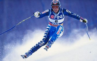 11 Feb 1999:  Deborah Compagnoni #6 of Italy skiing in the Women''s Giant Slalom during the World Alpine Ski Championships in Vail/Beaver Creek, Colorado.