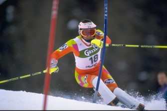 Dec 1993:  Deborah Compagnoni of Italy approaches a gate during the Womens Slalom event in St. Anton, Austria. \ Mandatory Credit: Chris  Cole/Allsport