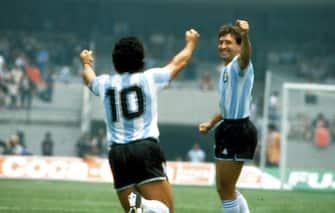 ©Archivio/Lapresse01-06-1986 Citta' del Messico, MessicoCalcioMondiali di calcio Messico 1986Nella foto:  l'esultanza di DIEGO ARMANDO MARADONA.