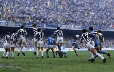 UNSPECIFIED,ITALY: 1986-87 Diego Armando Maradona of SSC Napoli   scores the goal during the Serie A match between SSC Napoli and Juventus, Italy.  (Photo by Alessandro Sabattini/Getty Images)