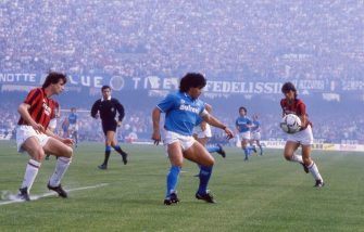 UNSPECIFIED,ITALY: 1986-87 (L-R) Filippo Galli of AC Milan, Diego Armando Maradona of SSC Napoli and Paolo Maldini of AC Milan during the Serie A match between SSC Napoli and AC Milan, Italy.  (Photo by Alessandro Sabattini/Getty Images)