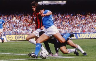 UNSPECIFIED,ITALY: 1986-87 Diego Armando Maradona of SSC Napoli  competes for the ball with Filippo Galli of AC Milan during the Serie A match between SSC Napoli and AC Milan, Italy.  (Photo by Alessandro Sabattini/Getty Images)