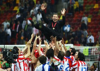 BUCHAREST, ROMANIA - MAY 09:  Atletico Madrid Coach Diego Simeone is thrown in the air by his players following their victory at the end of the UEFA Europa League Final between Atletico Madrid and Athletic Bilbao at the National Arena on May 9, 2012 in Bucharest, Romania.  (Photo by Alex Grimm/Getty Images)