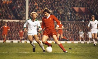 LIVERPOOL, UNITED KINGDOM - APRIL 12:  Borussia Mönchengladbach full back Berti Vogts (l) challenges Liverpool winger Steve Heighway during the  European Cup Semi Final 2nd leg match at Anfield on April 12, 1978 in Liverpool, England.  (Photo by Allsport/Getty Images)