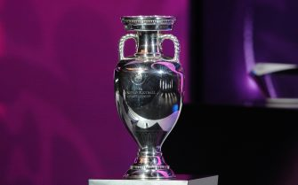 The European trophy stands on a plinth at the draw for the Euro 2012 football championships at the National Palace of Arts in Kiev on December 2, 2011. Defending champions Spain and 1968 winners Italy will clash in Group C of Euro 2012 after the draw for next year's finals was made here.  AFP PHOTO / FRANCK FIFE / AFP / FRANCK FIFE        (Photo credit should read FRANCK FIFE/AFP via Getty Images)