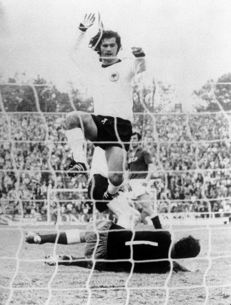 West Germany's Gerd Muller leaps over USSR goalkeeper Yevgen Rudakov after touching home his team's third goal  (Photo by S&G/PA Images via Getty Images)