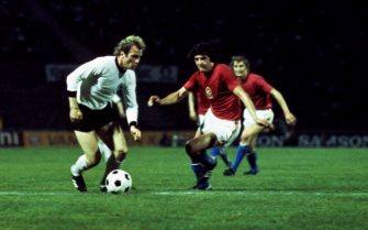West Germany's Uli Hoeness (l) takes on the Czechoslovakia's Anton Ondrus (r)  (Photo by Peter Robinson - PA Images via Getty Images)