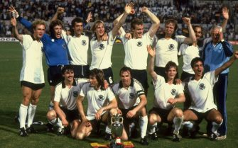 22 Jun 1980:  West Germany celebrate with the trophy after victory in the European Championship Final against Belgium at the Stadio Olimpico in Rome. West Germany won the match 2-1. \ Mandatory Credit: Steve Powell /Allsport