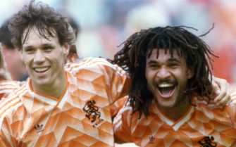 Dutch players Ruud Gullit (l) and Marco van Basten celebrate the success by the end of the match, on 25 June 1988, at Munich Olympic Stadium. The soccer national team of the Netherlands defeats the team of the USSR with 2:0 in the finals of the UEFA EURO in Germany. | usage worldwide (Photo by dpa/picture alliance via Getty Images)