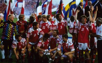 The Denmark team celebrate victory over Germany in the 1992 European Championship Final   (Photo by Peter Robinson - PA Images via Getty Images)