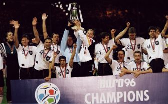 German players celebrate with the trophy after winning the final of the UEFA Euro 96 against the Czech Republic. (Photo by Christian Liewig/TempSport/Corbis via Getty Images)