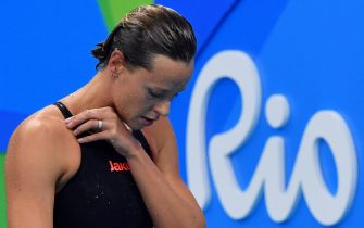 Federica Pellegrini of Italy reacts after the Women's 200m Freestyle final of the Rio 2016 Olympic Games Swimming events at Olympic Aquatics Stadium at the Olympic Park in Rio de Janeiro, Brazil, 09 August 2016.    ANSA/ETTORE FERRARI