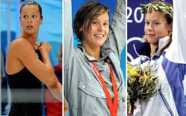 Nella combo da sinistra Federica Pellegrini alle olimpiadi di Atene 2004, Pechino 2008, Londra 2012, Rio 2016 e Tokyo 2021, 27 Luglio 2021.ANSA