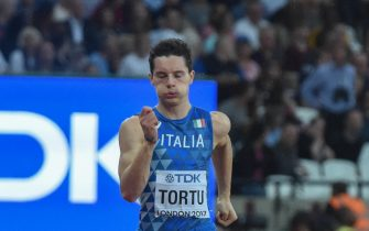 London, UK. 7th Aug, 2017. Filippo TORTU, Italy, during 200 meter heats in London on August 7, 2017 at the 2017 IAAF World Championships athletics. Credit: Ulrik Pedersen/Alamy Live News