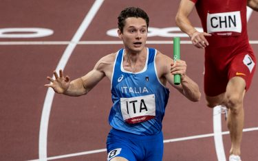TÓQUIO, TO - 06.08.2021: TOKYO 2020 Olympics TOKYO - Filippo Tortu of Italy - Italy (ITA) wins the men's 4x100 meters in front of Great Britain (GBR) in second place at the Tokyo 2020 Olympic Games held in 2021, the game held at the Ariake Arena in Tokyo, Japan. (Photo by Richard Callis/Fotoarena/Sipa USA)