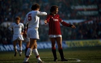 ©ravezzani/lapressearchivio storicosportcalcioanno 1983/84Franco Baresinella foto: il calciatore del Milan Franco Baresi