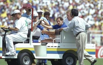 17 Jul 1994:  Franco Baresi of Italy is driven off the pitch after being injured during the World Cup final against Brazil at the Pasadena Rose Bowl in Los Angeles, California, USA. Brazil won the match 3-2 on penalties. \ Mandatory Credit: Shaun  Botterill/Allsport